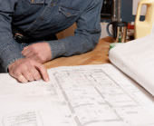 Contractor viewing drawings